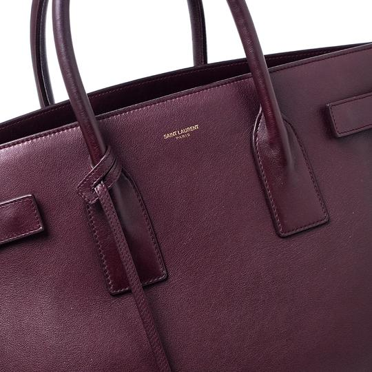 Saint Laurent Leather Tote in Burgundy Image 8