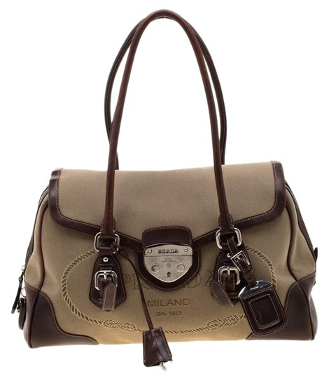 Preload https://img-static.tradesy.com/item/26769636/prada-beigebrown-and-leather-push-lock-brown-canvas-satchel-0-1-540-540.jpg