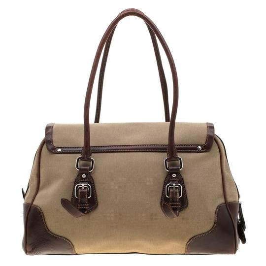 Prada Canvas Nylon Satchel in Brown Image 1