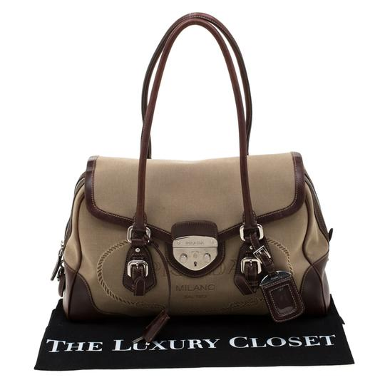 Prada Canvas Nylon Satchel in Brown Image 11