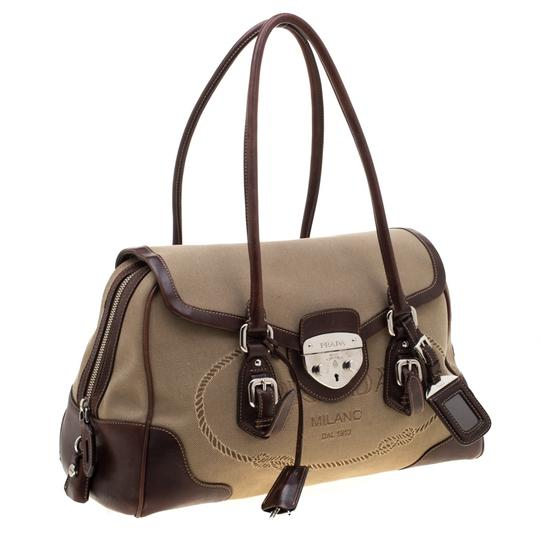 Prada Canvas Nylon Satchel in Brown Image 3