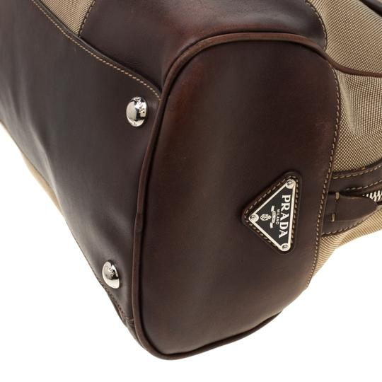 Prada Canvas Nylon Satchel in Brown Image 6