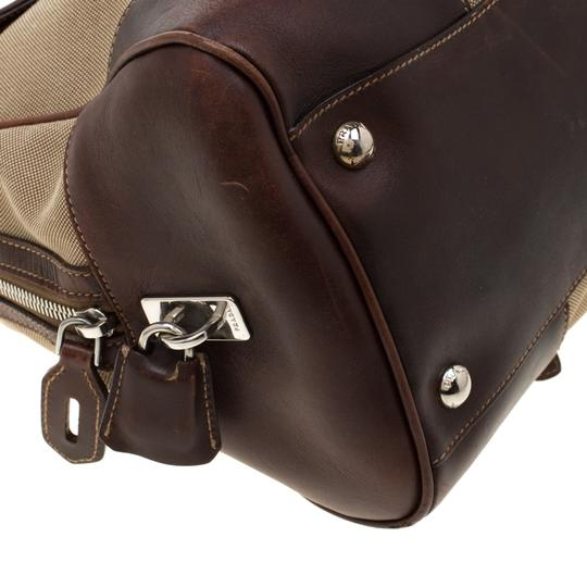 Prada Canvas Nylon Satchel in Brown Image 7