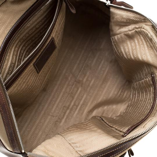 Prada Canvas Nylon Satchel in Brown Image 8