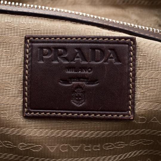 Prada Canvas Nylon Satchel in Brown Image 9