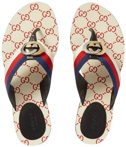 Gucci Flats Gg Logo white red Sandals