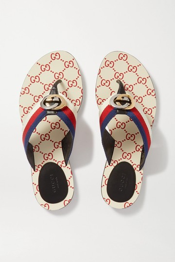 Gucci Flats Gg Logo white red Sandals Image 1