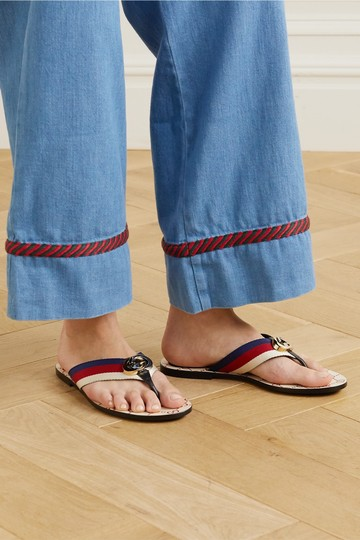 Gucci Flats Gg Logo white red Sandals Image 5