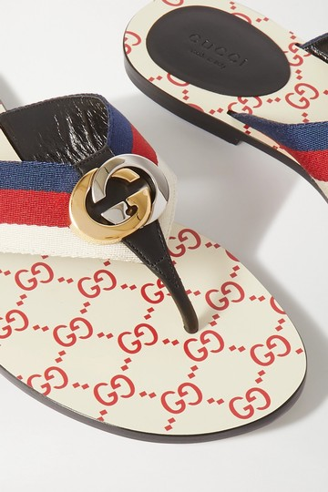 Gucci Flats Gg Logo white red Sandals Image 9
