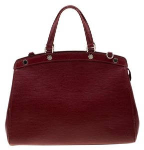 Louis Vuitton Leather Fabric Satchel in Red