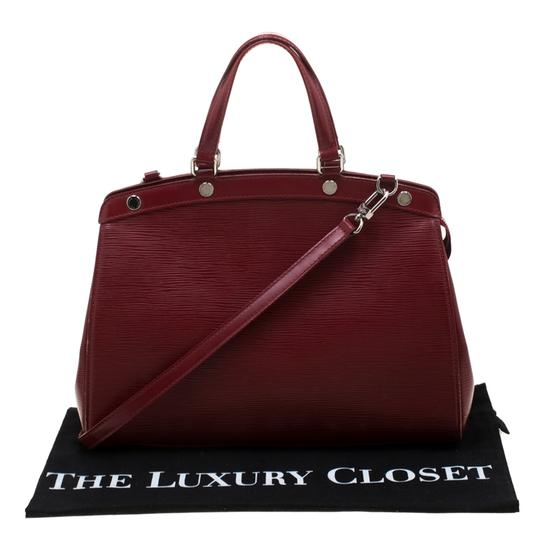 Louis Vuitton Leather Fabric Satchel in Red Image 10