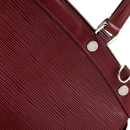 Louis Vuitton Leather Fabric Satchel in Red Image 8