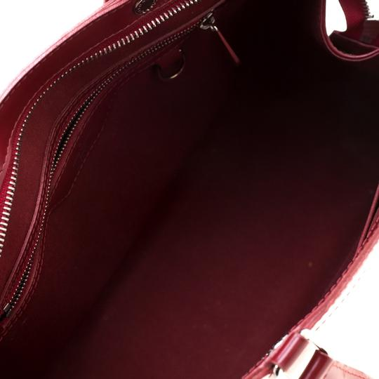 Louis Vuitton Leather Fabric Satchel in Red Image 9