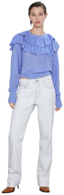 Item - Ruffled Cropped Knit Blue Sweater