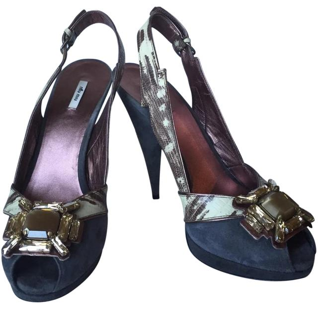 Item - Grey Crystall Snake Skin and Suede Platforms Size EU 40 (Approx. US 10) Regular (M, B)