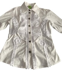 Save the Queen Ruffle Button Up Shirt Button Up Tuxedo Shirt Button Down Shirt White