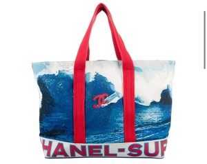 Chanel Chain Large Flap Vintage Tote in Red blue black