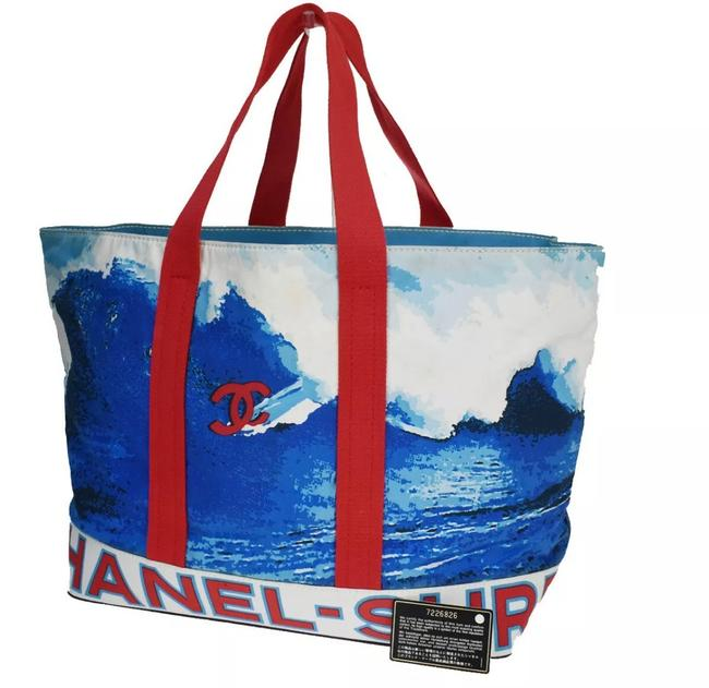 Item - Shopping Vintage Limited Edition Canvas Surf Collection Red Blue Black Lambskin Leather Tote