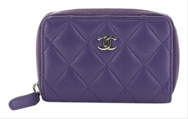 Item - Purple Cc Zip Coin Purse Quilted Lambskin Small Wallet