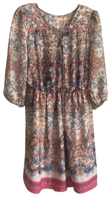 Item - Multicolor Lace-up Front Short Casual Dress Size 6 (S)