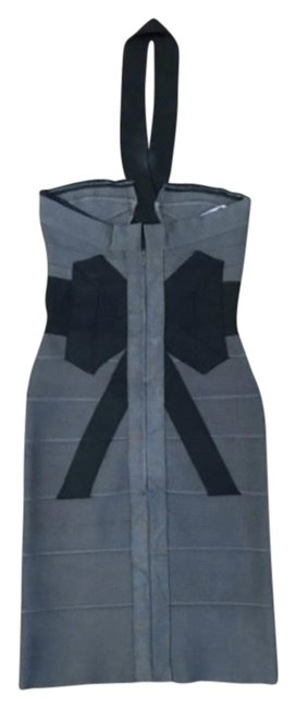 Item - Black and Gray Bow Bandage Short Cocktail Dress Size 4 (S)