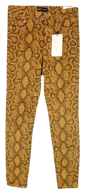 Item - Gold High Rise Snake Skin Skinny Jeans Size 24 (0, XS)