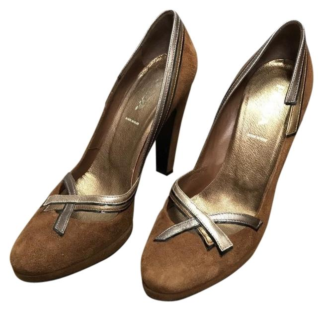 Item - Brown Suede Deco Heels with Gold and Silver Leather Trim Pumps Size EU 38 (Approx. US 8) Regular (M, B)