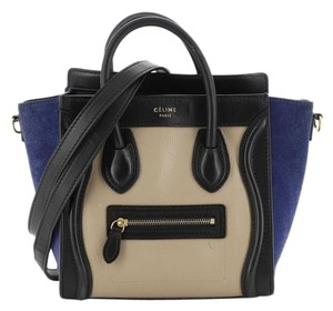 Celine Luggage Leather Tote in Blue, Multicolor
