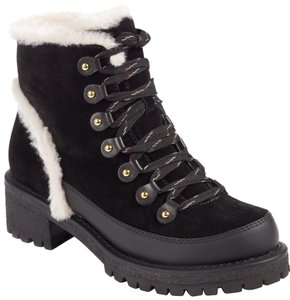 Tory Burch Shearling Lace-up Fur Black Boots