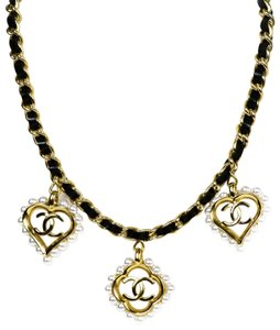 Chanel Chanel Leather Laced Chain Necklace w/ Pearl CC Heart & Flower Charms