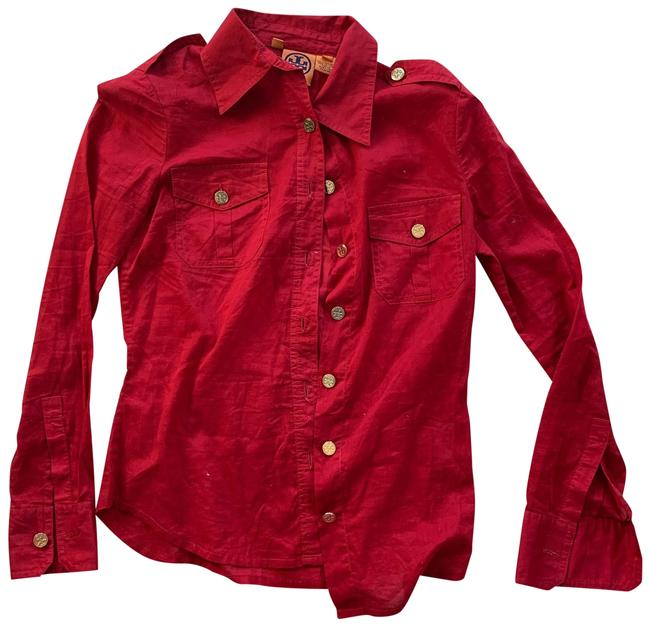 Item - Red and Gold Buttons Button-down Top Size 2 (XS)