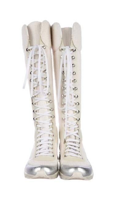 Item - Cream/White and Silver 2014 Runway Tweed Sneaker Boots/Booties Size EU 39 (Approx. US 9) Regular (M, B)