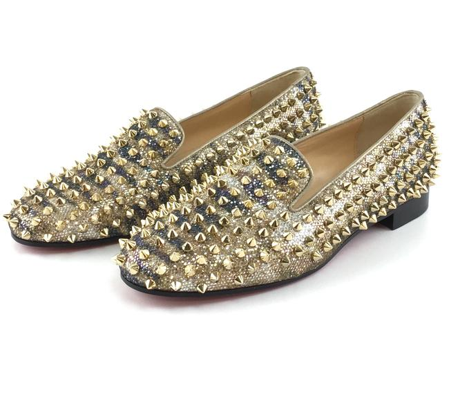 Item - Gold Multicolor #35544 Glitter Rolling Spikes Smoking Slippers Dandelion Flats Size EU 37 (Approx. US 7) Regular (M, B)