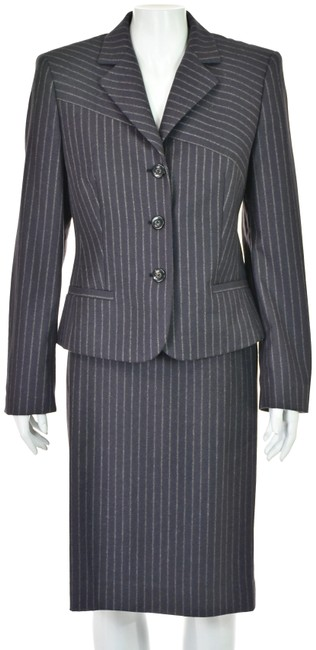 Item - Eggplant Wool Striped Vintage Skirt Suit Size 8 (M)