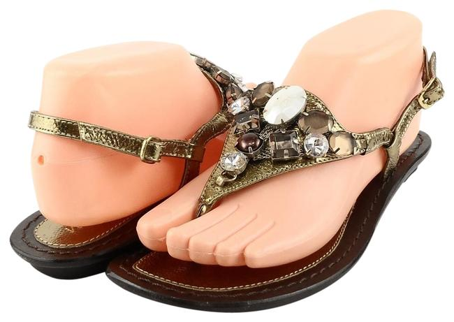 Item - Bronze Metallic Coco Leather Jeweled Thong Flat Sandals Size US 8 Regular (M, B)