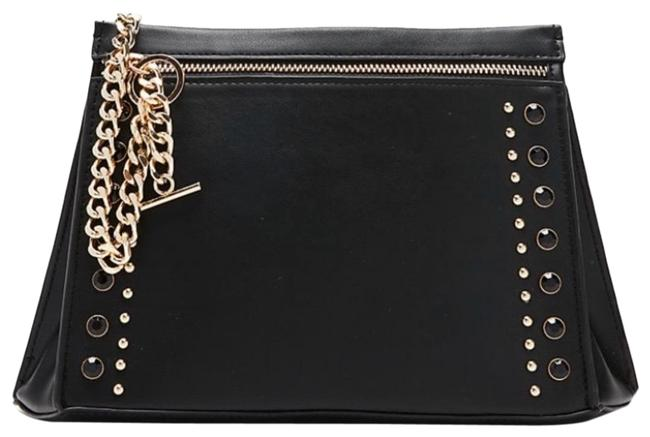 Item - Clutch Stud and Chain Black Leather Cross Body Bag