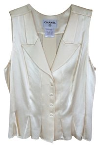 Chanel Chanel 100% Ivory Silk Vest with Matching wide-leg pants