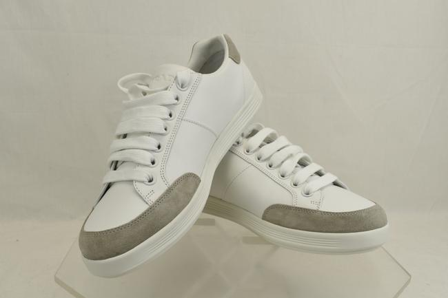 Item - White 4e3404 Leather Gray Trim Logo Lace Up Low Top Sneakers 11 Us 12 Shoes