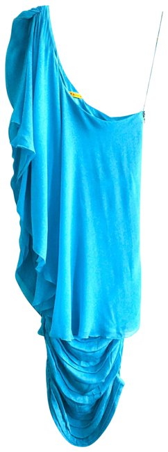 Item - Pool Blue And Silk One Shoulder Mid-length Night Out Dress Size 8 (M)