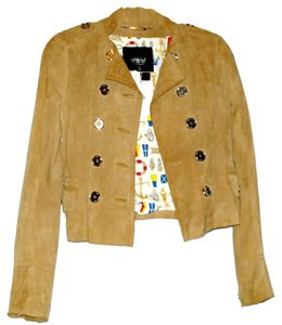 Dolce&Gabbana Suede Leather Spring Tan Leather Jacket