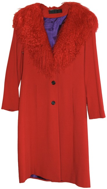 Yigal Azrouël Red Vintage Persian Lamb Collar Coat Size 8 (M) Yigal Azrouël Red Vintage Persian Lamb Collar Coat Size 8 (M) Image 1
