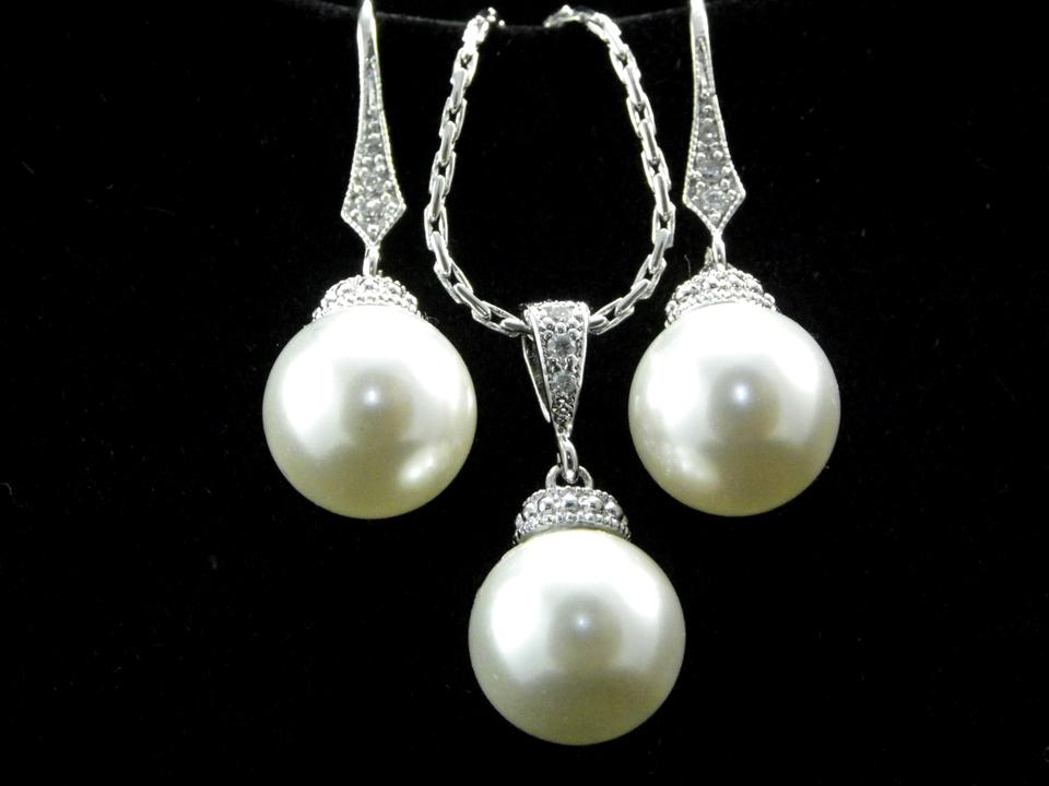 Wedding Gift Necklace: Other Swarovski Pearl Earrings And Necklace Set Pearl