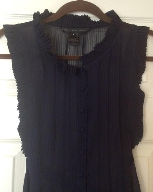 Marc by Marc Jacobs Silk Button Down Sleeveless Tie Ruffles Top Navy Blue