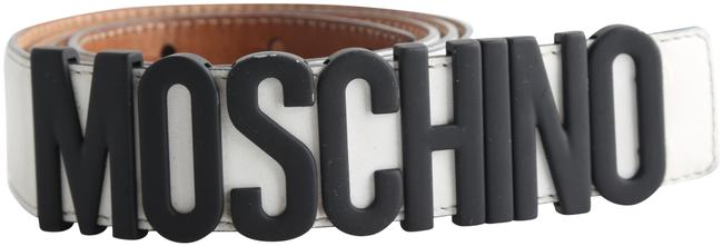 Moschino White Leather Logo Belt Moschino White Leather Logo Belt Image 1