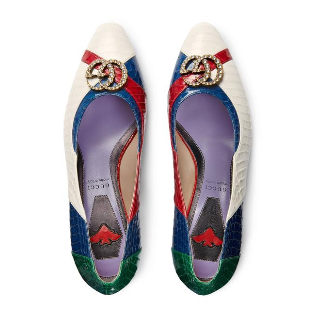 Item - White Blue Red New Snakeskin Crystal Gg Pumps Size EU 39 (Approx. US 9) Regular (M, B)