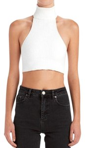 Are You Am I Crop Turtleneck Rib Open Back Comfortable White Halter Top