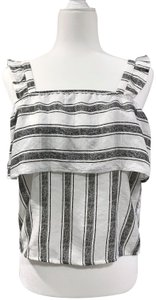 Almost Famous Clothing Ruffle Sleeveless Flowy Striped Summer Top Black and white