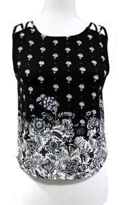 Abercrombie & Fitch Crop Floral Strappy Sleeveless Polyester Top Black and Cream