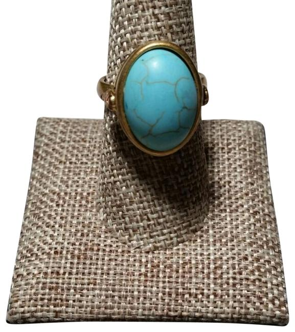 Item - Turquoise Blue Gold Brass Tone Ring