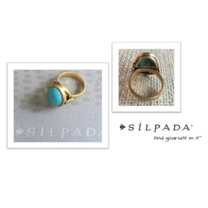 Silpada Turquoise Gold Tone Brass Dome Ring